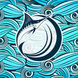 Marlin Fish against the Background of Stylized Sea Waves Royalty Free Stock Images