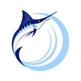 Marlin Fish avec des vagues de mer Photographie stock libre de droits