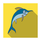 Marlin fish icon in flat style isolated on white background. Sea animals symbol stock vector illustration. Marlin fish icon in flat design isolated on white Stock Photos