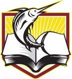 Marlin Fish Jumping Book Retro bleu Image stock
