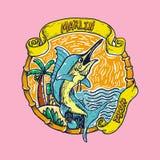 Marlin Fish no vetor da praia Imagens de Stock Royalty Free