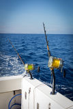 Marlin fishing. Fishing rods on a yacht for marlin fishing Royalty Free Stock Photos