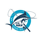 Marlin fishing sport emblem with fish on rod Stock Photography