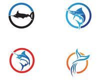 Marlin jump fish logo and symbols icon.  Stock Image