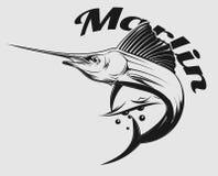 Marlin logo. Vector logo sea fishing with jumping Marlin or swordfish Royalty Free Stock Images