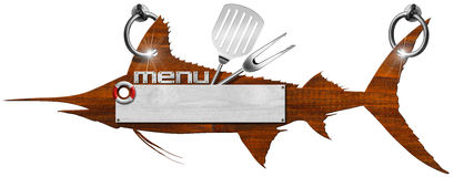 Marlin Menu Wooden Signboard. Menu signboard in the shape of fish marlin, written menu and kitchen utensils Stock Images