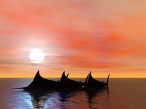 Marlins de coucher du soleil Images libres de droits
