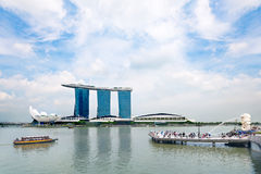 Marlion fountain and  Marina Bay Sands Resort Hotel  in Singapore Stock Image