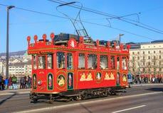 Marlitram op de Quaibruecke-brug in Zürich, Zwitserland Royalty-vrije Stock Fotografie