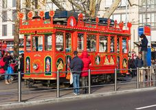 The `Marlitram` tram on Bellevue square in Zurich, Switzerland. Zurich, Switzerland - 6 December, 2015: the `Marlitram` tram on Bellevue square. Built in 1913 stock photography