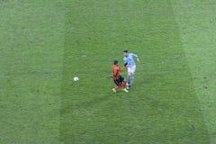 Marlos Shakhtar顿涅茨克和Andreu Fontàs维戈塞尔塔足球俱乐部 免版税库存图片