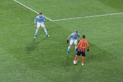 Marlos Shakhtar Donetsk konfrontiert Spieler von Celta Vigo Lizenzfreie Stockfotos