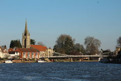 Marlow  with its church and bridge. Marlow's Church and bridge viewed from a  distance Royalty Free Stock Images