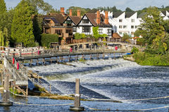 Marlow on the River Thames, England. Scenic view of the weir over the River Thames in Marlow, Buckinghamshire, England Royalty Free Stock Image