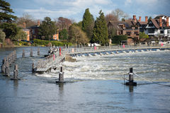 Marlow weir. In Buckinghamshire UK Royalty Free Stock Images