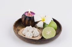 Marly kalksten som jordtextur, kalciumkarbonat som är blandad med citronen (receptakne). Royaltyfria Bilder