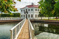 Marly Palace and ornamental ponds in the lower Park of Peterhof Royalty Free Stock Photo