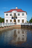 The Marly Palace with reflection in pond closeup. Peterhof Royalty Free Stock Photography