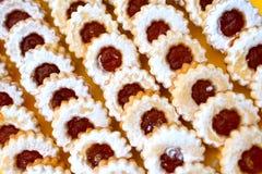 Marmalade cakes (linzer). A tray of shortcake (linzer Stock Photos