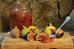 Marmalade of Figs. Figs on a wooden board Stock Photography
