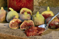 Marmalade of Figs. Figs on a wooden board Royalty Free Stock Photos