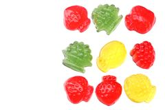 Marmalade jelly candies isolated on white background top view Stock Photos