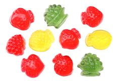 Marmalade jelly candies isolated on white background top view Royalty Free Stock Images