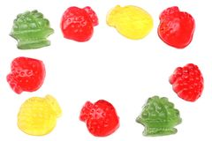 Marmalade jelly candies isolated on white background top view Stock Images