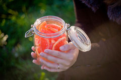 Marmalades in the jar. Into the girl's hands Stock Images