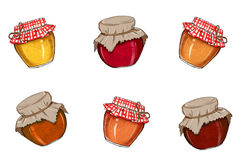 Marmalades Jars on white background Royalty Free Stock Photo