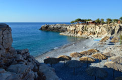 Marmara beach. Is a nice secluded small pebbly bay shaped near the exit of the imposing Aradena Gorge Stock Photo