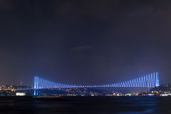 The marmara sea and the boshorus bridge at night Royalty Free Stock Photography