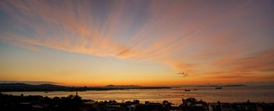 Marmara Sea / Bosporus Strait. The appearance of first daylight in the morning, Marmara Sea / Bosphorus Street in Istanbul, Turkey Royalty Free Stock Images