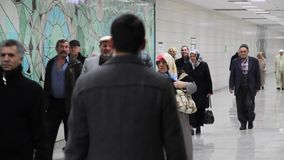 Marmaray Metro, Passengers are going to the train station,. 18 December 2013, Sirkeci Station ISTANBUL - TURKEY stock footage