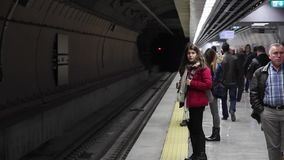Marmaray Metro, Passengers wait the train. 18 December 2013, Sirkeci Station ISTANBUL - TURKEY stock video footage