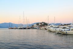 Marmaris castle area from marina. Turkey royalty free stock images