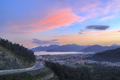 Marmaris cityscape with city lights during dusk in Turkey Stock Image