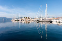 Marmaris Harbour, Turkey. Marmaris is populer holiday destination. Old town and yacht marine reflection is on the sea Stock Photos
