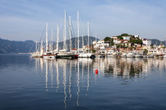 Marmaris Harbour, Turkey. Marmaris is populer holiday destination. Old town and yacht marine reflection is on the sea Royalty Free Stock Image