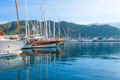 Marmaris marina port with yatchs Stock Images