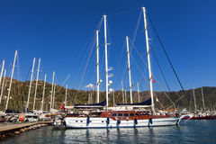 Marmaris port. Yachts in the Marmaris port in Mugla province in Turkey. At 2013 more than 3 million tourists visited Mugla province stock photos