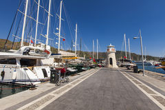 Marmaris port. Yachts in the Marmaris port in Mugla province in Turkey. At 2013 more than 3 million tourists visited Mugla province royalty free stock images