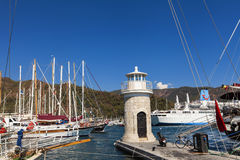 Marmaris port. Yachts in the Marmaris port in Mugla province in Turkey. At 2013 more than 3 million tourists visited Mugla province royalty free stock photography