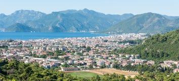 Marmaris resort town in Mugla province of Turkey. View over Marmaris resort town in Mugla province of Turkey royalty free stock photo