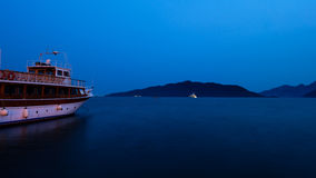 Marmaris sea. Sea of Marmaris with a boat Stock Photography