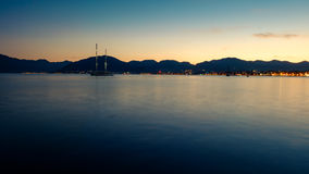 Marmaris sea. Marmaris shore with a boat Royalty Free Stock Images