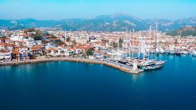 Marmaris stone castle and port Mediterranean sea Turkey.JPG Royalty Free Stock Photos