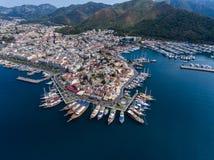 Marmaris, Turkey castle and marina Royalty Free Stock Photos