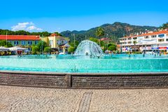 Dancing Fountain, Clock Tower in Marmaris Royalty Free Stock Photography