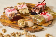 Marmelade bars with nuts. Granola organic snacks with fruits Royalty Free Stock Photo
